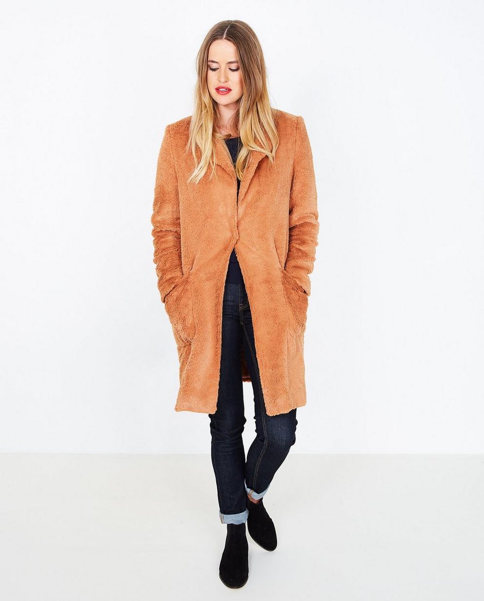 Manteau brun en teddy - fausse fourrure - JBC